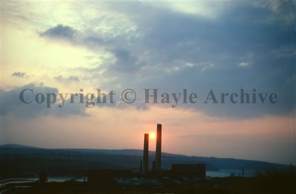 Image: Sunset between the stacks
