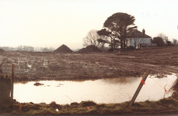 Image: Hayle bypass construction February 1983. Helston to Hayle road